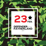 Happy Defender of the Fatherland day. 23 February. Greeting card for men on military background . The Day of Russian Army. Russian national holiday Stock Images