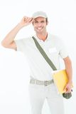 Happy delivery man wearing cap Stock Photography