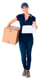 Happy delivery woman holding cardboard box and clipboard Stock Image