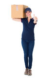 Happy delivery woman holding cardboard box Royalty Free Stock Photography