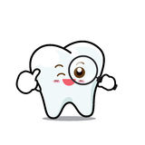 Happy  Dental Smile Tooth Mascot Cartoon Character isolated on w Royalty Free Stock Photo