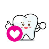 Happy  Dental Smile Tooth Mascot Cartoon Character isolated on w Stock Image