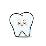 Happy  Dental Smile Tooth Mascot Cartoon Character isolated on w Stock Photography
