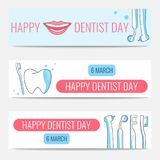 Happy Dentist Day banners Stock Images