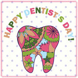 Happy dentist day card with tooth silhouette Stock Images