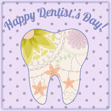 Happy dentist day card with tooth silhouette vintage Stock Photo