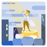Happy dentist day. Doctor hero with toothbrush Royalty Free Stock Photography