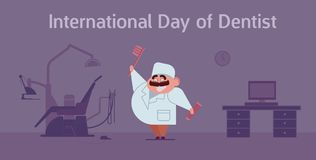 Happy dentist`s day celebration card with doctor and dentist office. Happy dentist`s day celebration card with doctor and dentist office and equipment. Flat Royalty Free Stock Image