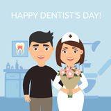 Happy Dentist`s Day. Dental clinic. Holiday greeting card medical titles.The patient thanked the dentist  Stock Photo