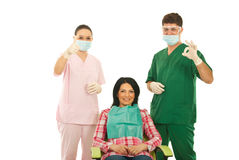Happy dentists and patient Stock Photography