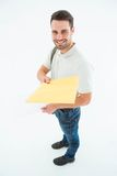 Happy derivery man giving envelop Stock Photo