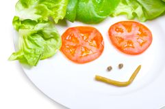 Happy diet. White plate of happy diet Stock Images