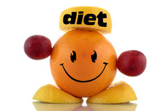 Happy diet. Funny fruits character collection. On white background Royalty Free Stock Photos