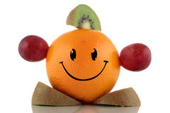 Happy diet. Funny fruits character collection. On white background Royalty Free Stock Image