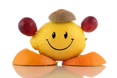 Happy diet. Funny fruits character collection. On white background Stock Photo