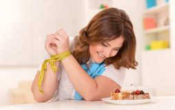 Happy dieting woman Royalty Free Stock Images