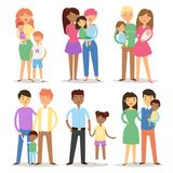 Happy different family couples characters Stock Photos