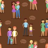 Happy different family couples characters mother father baby multinational people together vector seamless pattern Stock Images