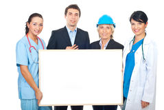 Happy different workers holding banner stock photography