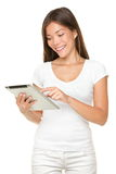 Happy digital tablet computer girl Stock Images