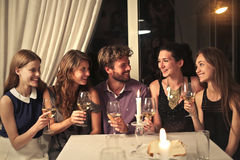 A happy dinner. With friends Royalty Free Stock Images