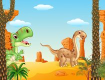 Happy dinosaur collection set with desert background Royalty Free Stock Photography