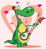 Happy dinosaur plays guitar. Romantic guitarist dinosaur singing a love song with music notes and hearts Stock Image