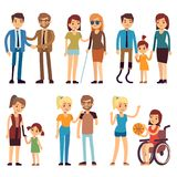 Happy disabled people in sport and social activities. Vector flat characters set stock illustration