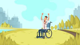 Happy Disabled Worker Cheer in Green City Park. Businessman in Formal Wear Sit in Wheelchair Express Emotion on Summer Lawn. Smiling Character with Special vector illustration
