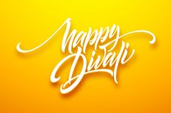 Happy divali festival of lights black calligraphy hand lettering text isolated on white background. Vector illustration. EPS10 stock illustration