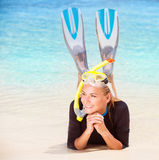 Happy diver on the beach Stock Photography