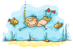 Happy diver swimming underwater with fishes Stock Photography