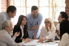 Free Happy Diverse Business Team Talking Brainstorming Gathered At Table Royalty Free Stock Photo - 152636655
