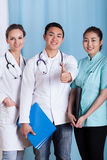 Happy diverse doctors Stock Photography