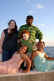 Happy diverse family at ocean Royalty Free Stock Photography