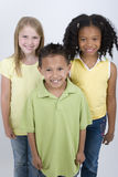 Happy diverse group of kids  on white. Stock Photo