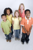 Happy diverse group of kids  on white. Stock Images