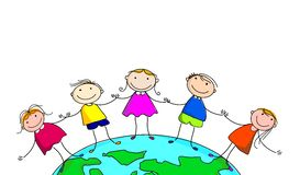 Happy kids and earth. cartoon.on white background stock illustration
