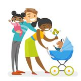 Happy diverse multiracial family with mulatto kids. Royalty Free Stock Photos