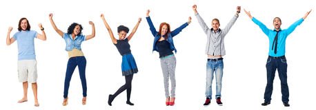 Happy diverse people. Celebrating diversity real people group isolated on white cheering Stock Photos