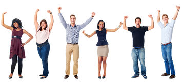 Happy diverse people. Celebrating diversity real people group isolated on white cheering Stock Photography