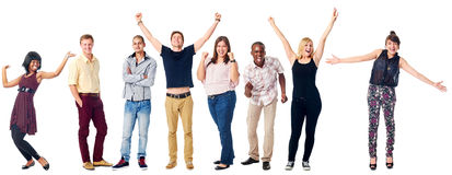 Happy diverse people. Celebrating diversity real people group isolated on white cheering Royalty Free Stock Image