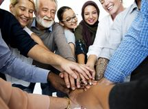 Happy diverse people connected together royalty free stock photography