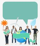 Happy diverse people environment holding icons stock image