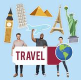 Happy diverse people holding traveling icons stock images