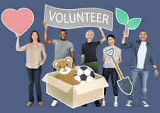 Happy diverse people holding volunteer banner stock images