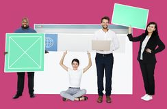 Happy diverse people holding wed design board stock image