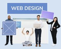 Happy diverse people holding a wed design board Royalty Free Stock Image