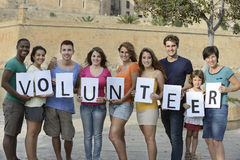 Happy and diverse volunteer group Stock Images