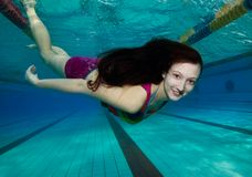 Happy diving in the pool Stock Photography